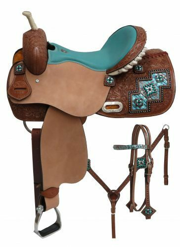 Barrel Saddle SET with Arctic Aztec Inlay  Teal Full QH Bars 14  15  or 16  NEW  good quality