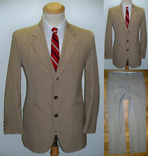 39S Mens 2pc MOD ~Van Boven~ Khaki Slimfit VTG Hipster Preppy Wool Blend Suit