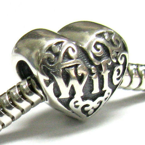 .925 Sterling Silver Heart Love Wife Engrave Family For European Charm Bracelet