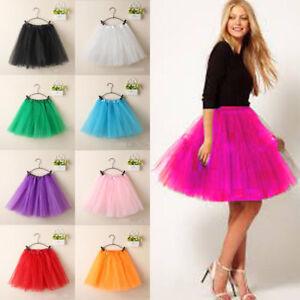 Candy-Color-Womens-Adult-3-Layer-Tutu-Dancewear-Party-Ballet-Pettiskirt-Skirt