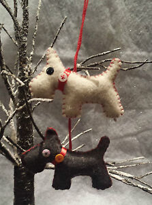 felt scottie dog christmas decoration hanging tree dog - Scottie Dog Christmas Decorations