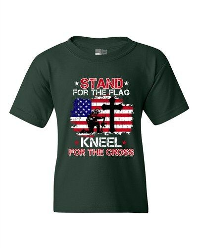 DT Youth Kids T-Shirt Tee C Stand For The Kneel For The Cross Soldier USA