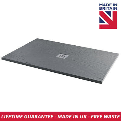 Luxury Slate Effect Rectangle 1600mm x 800mm Shower Tray In Graphite Free Waste