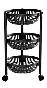 3-Tier-Plastic-Fruit-amp-Vegetable-Trolley-Storage-Rack-On-Wheel-Stackable-Black
