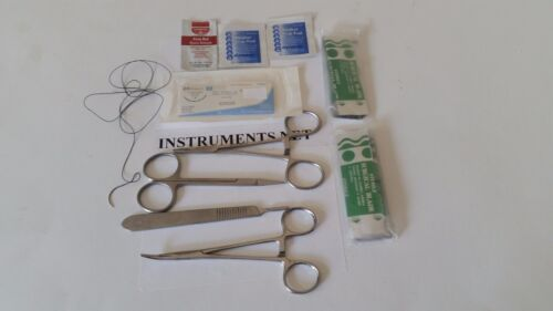 Scissors etc Forceps Basic Surgical Kit Scalpel Needle Holder Suture Set