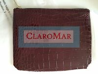 ☀️new Nordstrom Burgundy Faux Leather Crocodil Print Makeup Bag Cosmetic Clutch
