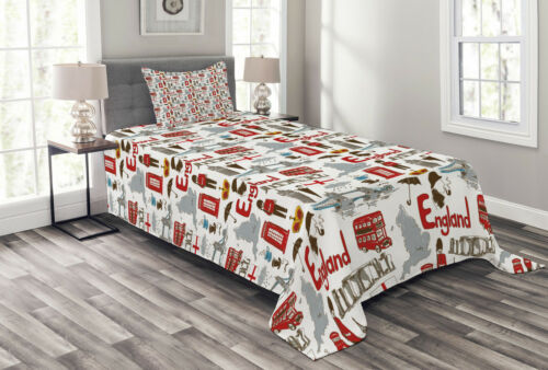 Fun Colorful Sketch Print Details about  /London Quilted Bedspread /& Pillow Shams Set