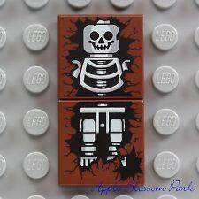 NEW Lego Brown SKELETON TILE SET - 2x2 Printed Minifg Halloween Head Grave 4766