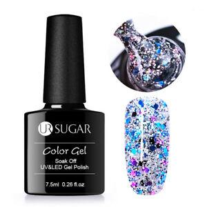 7-5ml-Soak-Off-UV-Gellack-Pailletten-Nagellack-Manikuere-Dekoration-DIY-UR-SUGAR