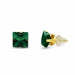 Simulated-Green-Emerald-Square-Stud-Earrings-10k-Yellow-Gold-May-Birthstone