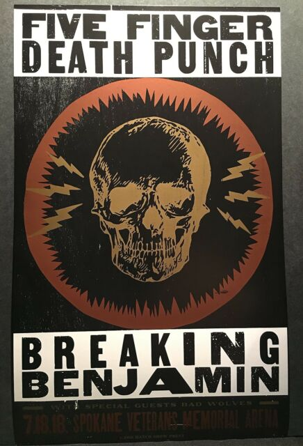 Hatch Show Print Poster Five Finger Punch Breaking Benjamin Tour Spokane