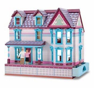 NIB Melissa & Doug wooden self storing dollhouse older Victorian style
