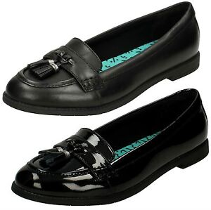 Elegante Mocasines Nalgas Clarks School On Black Bootleg Slip By Patent Shoes Cuero Edge Preppy wqXgFnqz