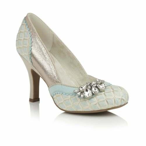 Women/'s Ruby Shoo Fabia Sky Blue Jeweled Slip On High Heel Court Shoe