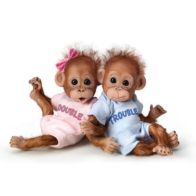 Double Trouble Monkey 8'' Twin Doll Set by The Ashton-Drake Galleries