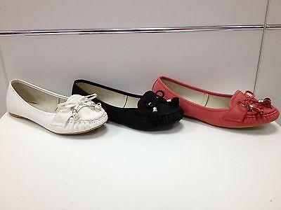 Femmes Chaussures Mocassins Ballerines Babies Noir Blanc Rouge P 37 38 39 5598-1