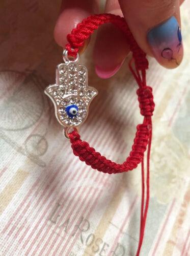 Para Bebé Plata Mano De Fatima Rojo Cable Protección de pulsera de la suerte mal de ojo