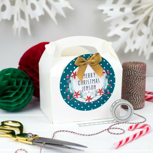 PERSONALISED CHRISTMAS EVE GIFT BOX XMAS WREATHPARTY BAG TABLE FAVOUR