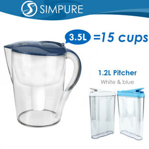 Water Filter Pitchers Drinking Purifier Home BPA Free Alkaline Carbon 15/5 Cups