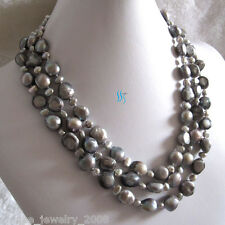 """18-20"""" 4-11mm Gray Baroque 3Row Freshwater Pearl Necklace UJ"""