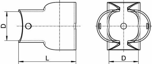 Schelle Rohrschelle T-Verbindung 90° gestanzt Edelstahl A4  25mm ARBO-INOX