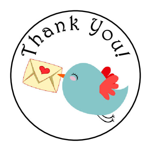 "30 1.5/"" THANK YOU BIRD HEART FAVOR LABELS ROUND STICKERS"
