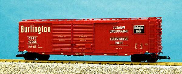 USA Trains G Scale 50 Ft Double Door Box Car R19313B Burlington Route - Red