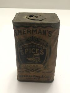 Vintage Very Early Sherman's Spices Thyme Tin - Sherman Bros & Co. Chicago