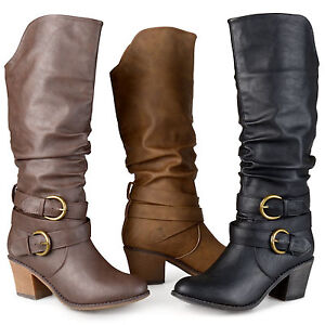 Journee-Collection-Womens-Buckle-Slouch-High-Heel-Boots-New