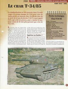 LE CHAR T-34-85 URSS 1943-1964 - FICHE VÉHICULE MILITAIRE - ARMÉE jKcXIJqE-09171629-537447596