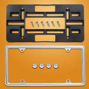 FRONT-LICENSE-PLATE-HOLDER-CHROME-FRAME-tag-bracket-mount-for-bumper-mer