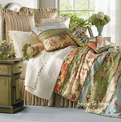 GARDEN DREAM * King * QUILT : COUNTRY COTTAGE SHABBY RAG PATCH FLORAL COMFORTER