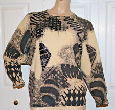 Vintage LambsWool & Angora Printed size 48 L Queen of Saba Royal Fashion sweater