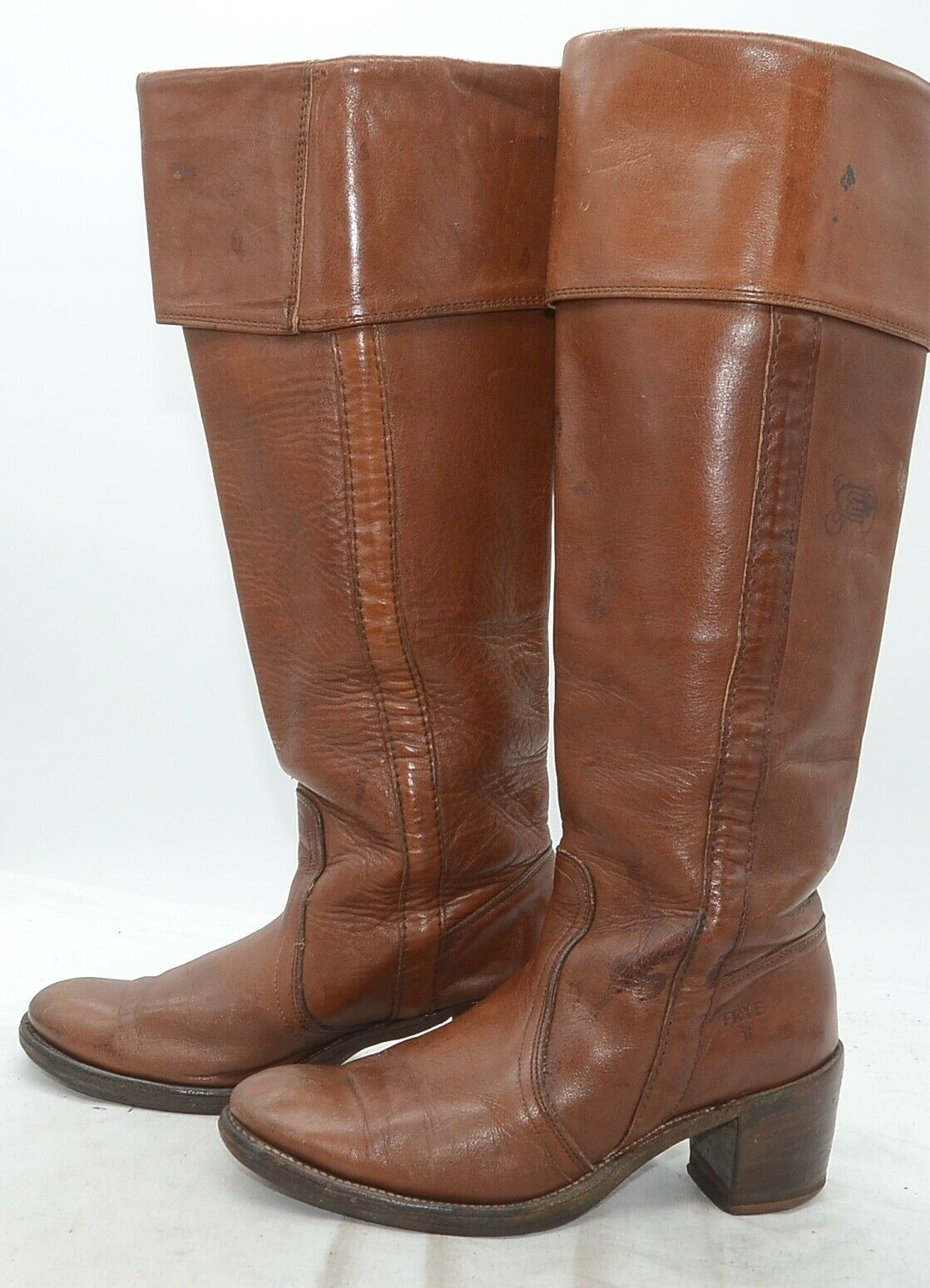 Vtg Frye Boots USA Campus Womens Sz 6 Cuffed Tan Leather Riding Western Boots