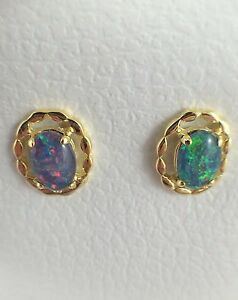 Genuine-Australian-Coober-Pedy-Triplet-Opal-Stud-Earrings-Twice-18ct-Gold-Plated