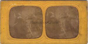 Scena Da Genere Bambini Duel Stereo Diorama Tessuto Vintage Albumina