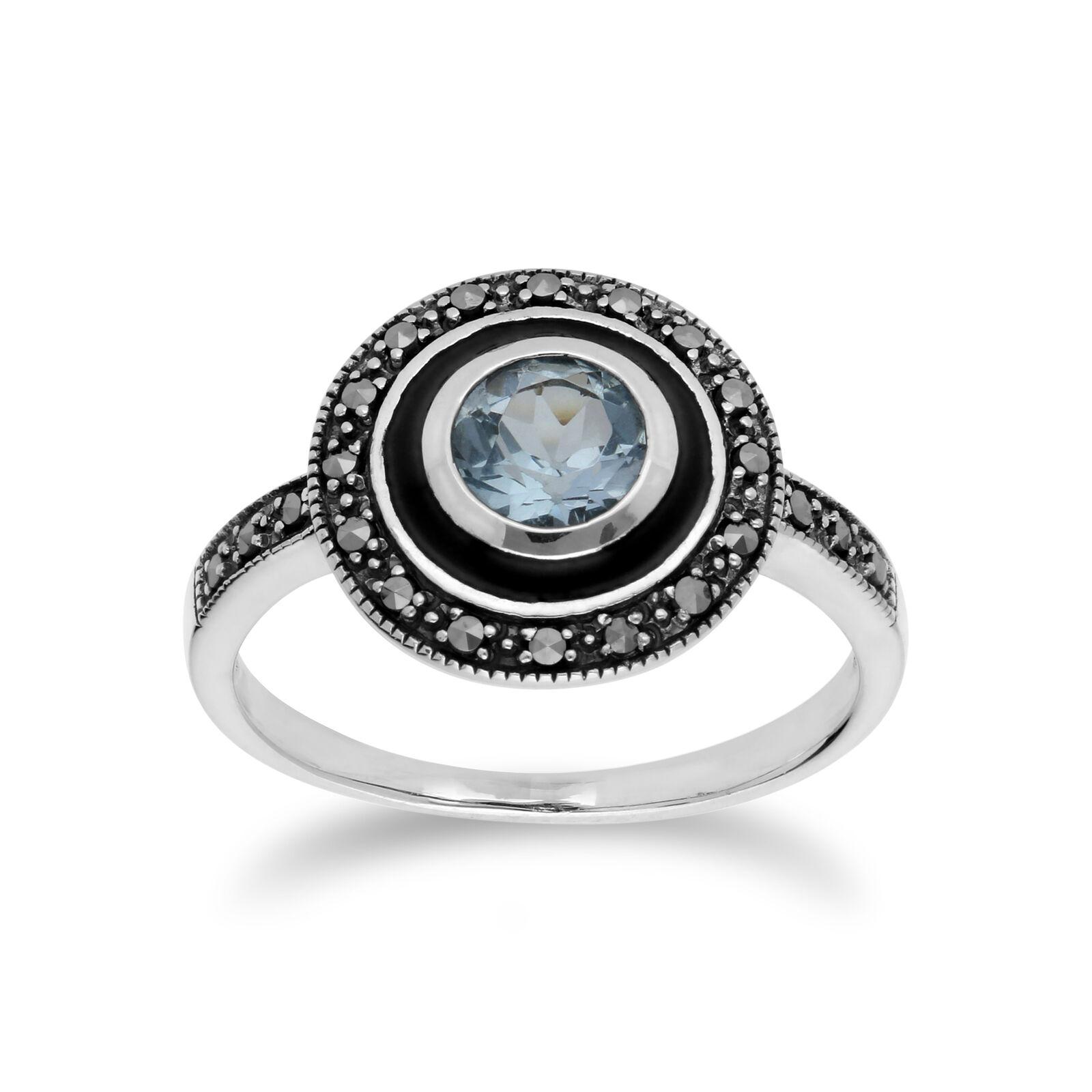 Gemondo silver Sterling Topaze blue & Marcassite & Émail black Bague
