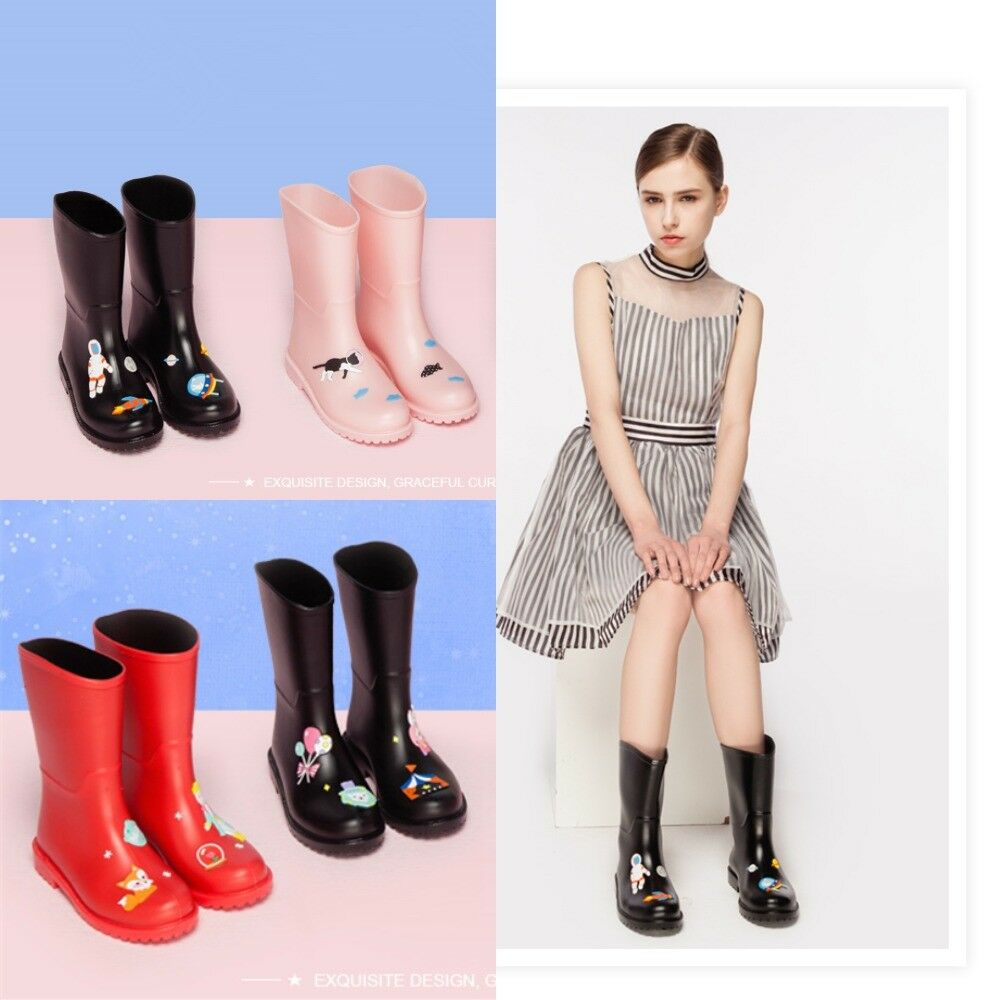 PVC Rain Stiefel Damens Waterproof Cartoon Animation Cat Rubber Ankle Fashion Flat