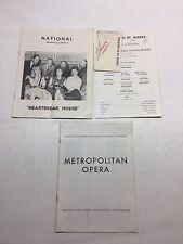 3 Vntg Theater Programs National Theater Metropolitan Opera Theater 80 St. Marks