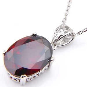 Birthstone-Natural-Red-Fire-Garnet-Platinum-Plated-Necklace-Pendant-Free-Chain