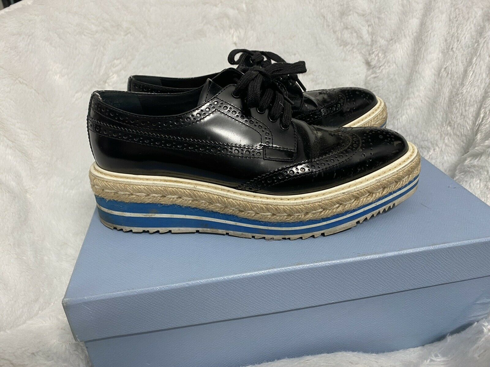 AUTH PRADA Leather Brogue Platform Oxfords Black … - image 4