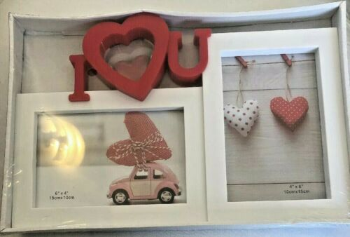 Details about  Red & White I Heart U Double Picture Frame-Valentines Day Great Gift BNIB GLOBAL