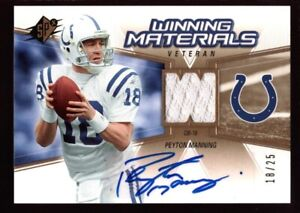 low priced a830e 79133 Details about PEYTON MANNING 18/25 JERSEY# AUTO COLTS JERSEY PATCH GOLD SP  2016 SPX AUTOGRAPH