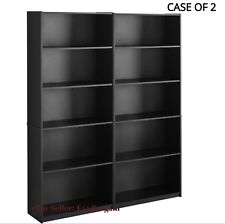Bookcase WIDE 5 Shelf Set Of 2 Pcs Adjustable Home Office Bookshelf BLACK