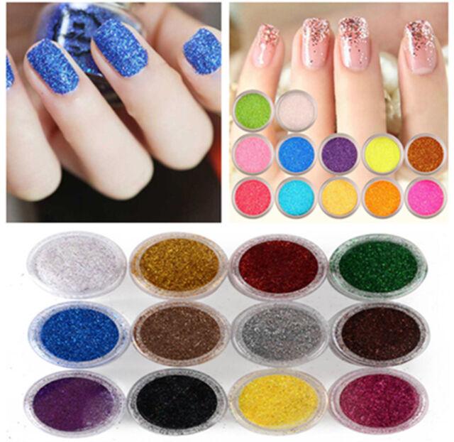 C 12 Pcs Mix Color Glitter Dust Powder Set For Nail Art Acrylic Tips
