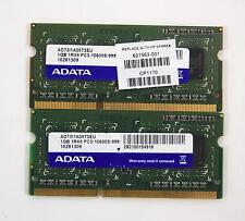 2GB Adata (2x 1GB) 1RX8 PC3-10600S DDR3 1333 Mhz Laptop Ram
