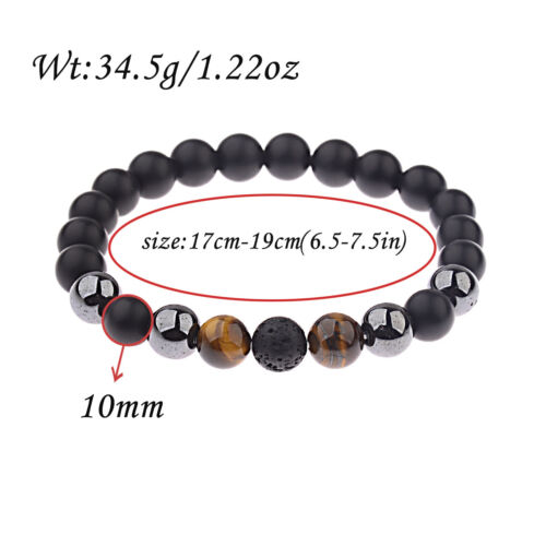Lave Tigers Eye Gemstone Men/'s Perles Bracelets Hématite Fashion 10 Mm Noir Onyx