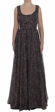 NWT $4900 DOLCE & GABBANA Dress Dark Silk Shift Gown Full Length IT40 / US6 /S