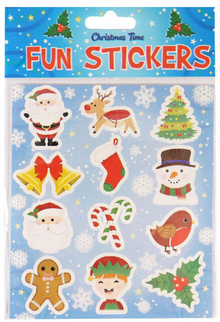 Christmas Party Themed Sticker Sheets Loot Bag Fillers Favours Prizes