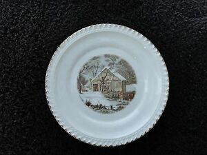 Harkerware Currier & Ives The Homestead in Winter Gold Trim Bread ...